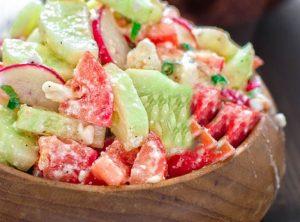 Summer salad with feta cheese salad